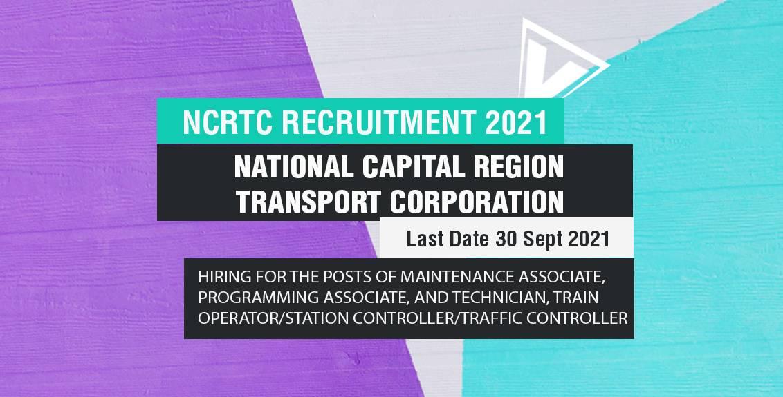 NCRTC Recruitment 2021 Job Listing thumbnail.