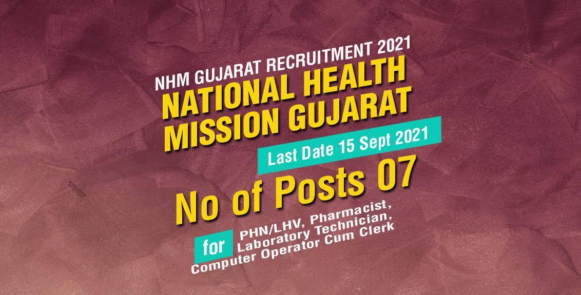 NHM Gujarat Recruitment 2021 Job Listing thumbnail.