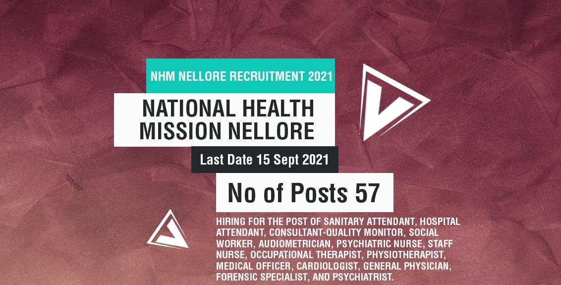NHM Nellore Recruitment 2021 Job Listing thumbnail.