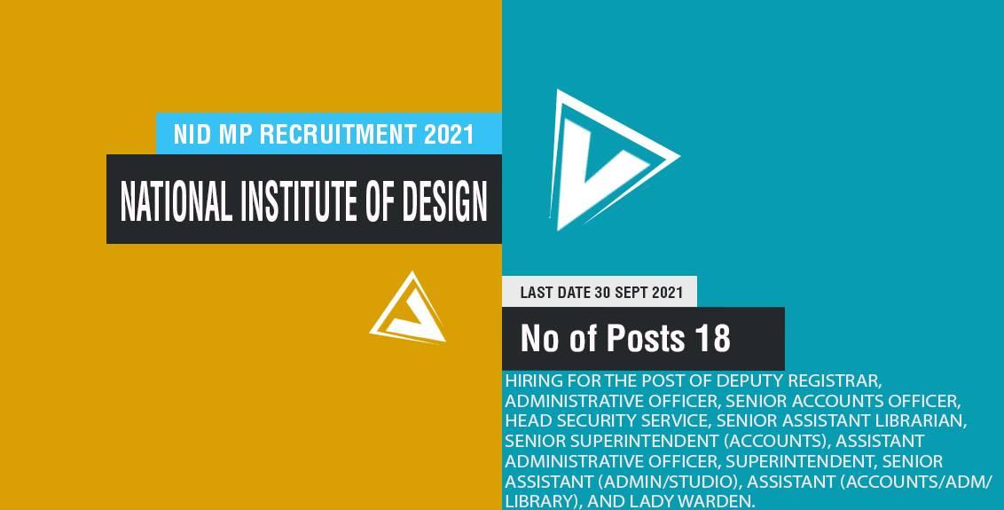 NID MP Recruitment 2021 Job Listing thumbnail.