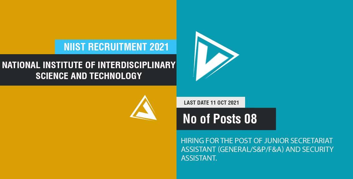 NIIST Recruitment 2021 Job Listing thumbnail.