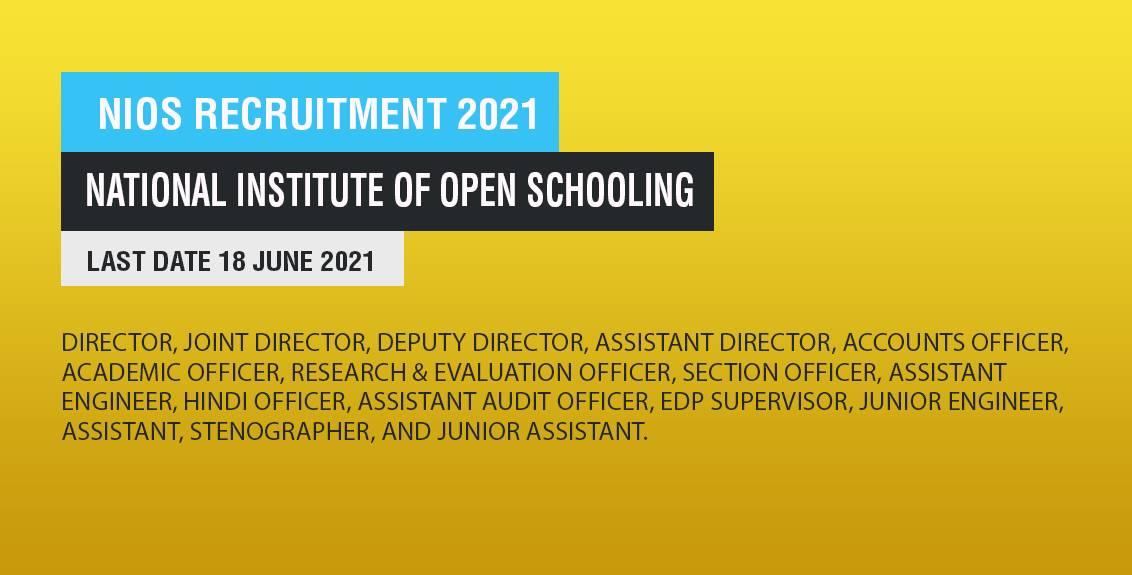 NIOS Recruitment 2021 Job Listing thumbnail.