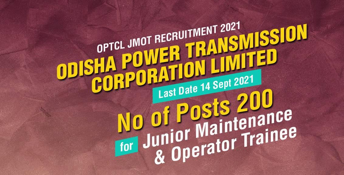 OPTCL JMOT Recruitment 2021 Job Listing thumbnail.
