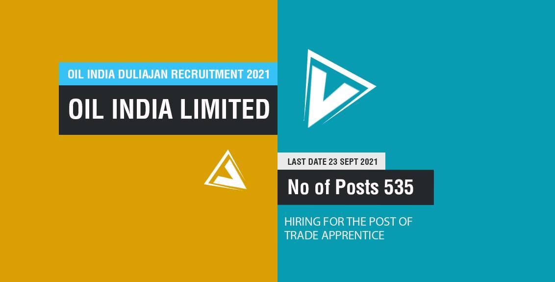 Oil India Duliajan Recruitment 2021 Job Listing thumbnail.