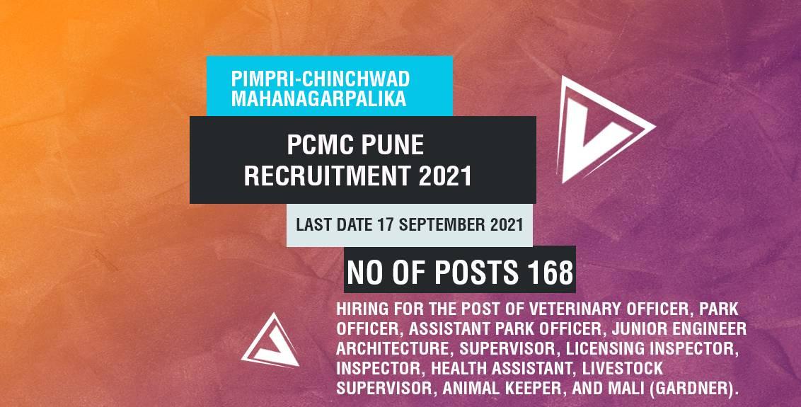 PCMC Pune Recruitment 2021 Job Listing thumbnail.