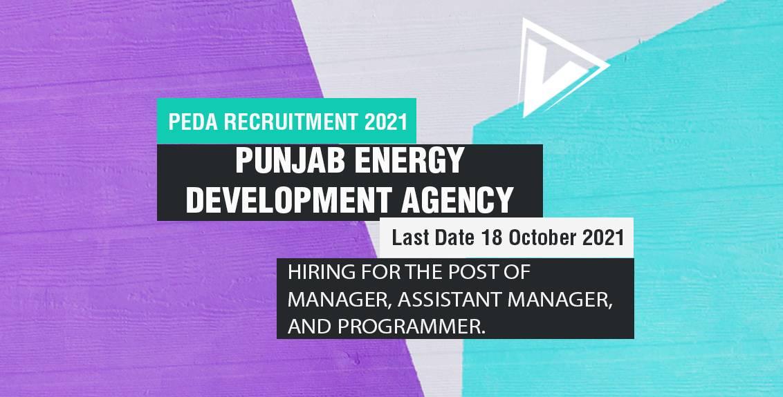 PEDA Recruitment 2021 Job Listing Thumbnail.