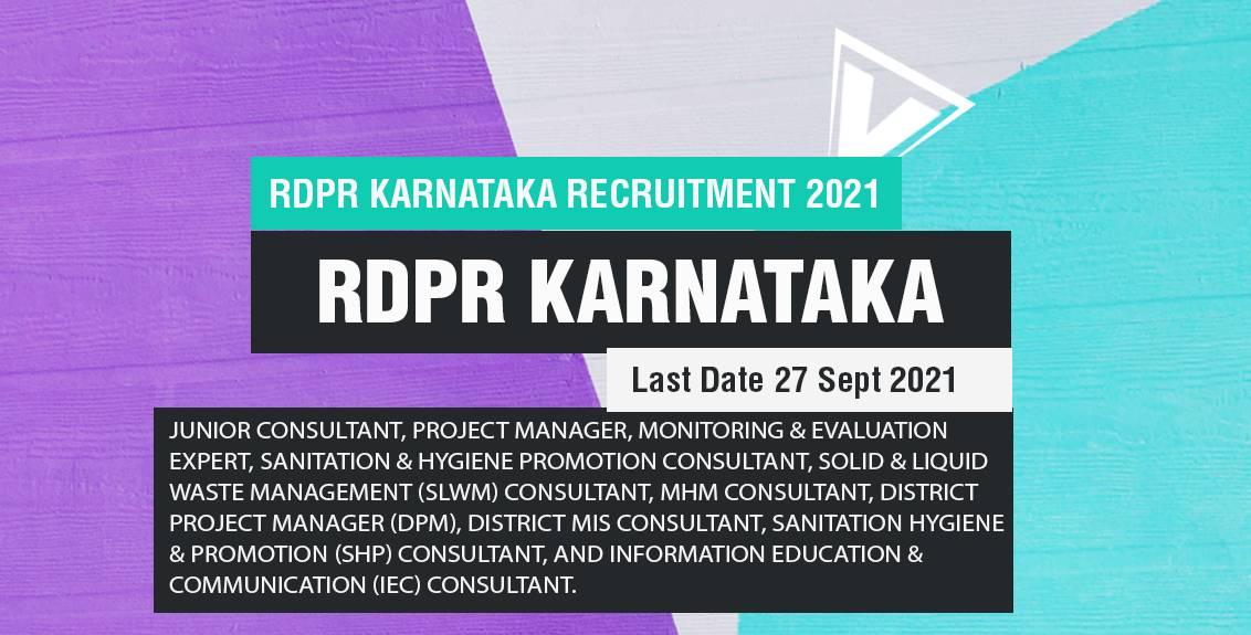RDPR Karnataka Recruitment 2021 Job Listing thumbnail.