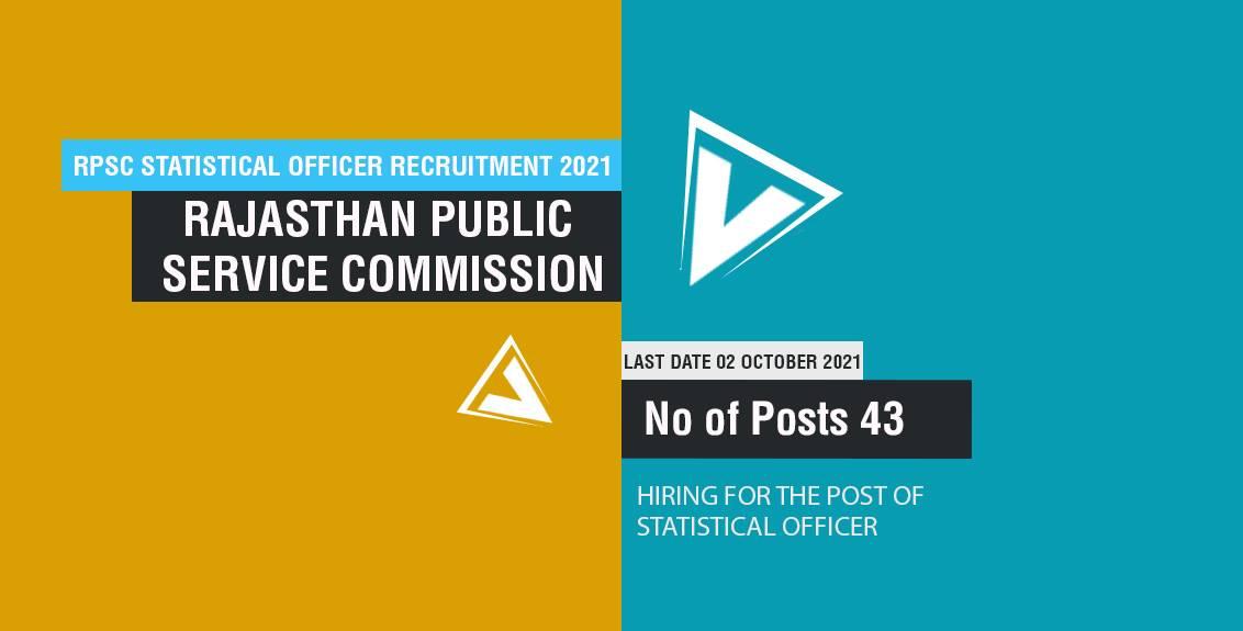 RPSC Statistical Officer Recruitment 2021 Job Listing thumbnail.