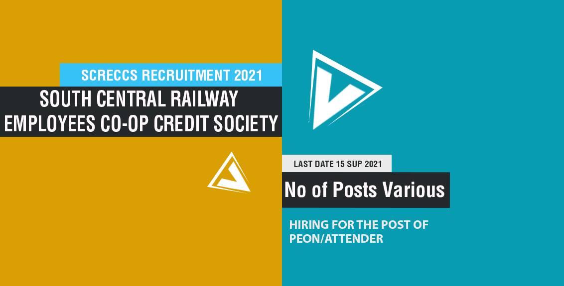 SCRECCS Recruitment 2021 job listing thumbnail.