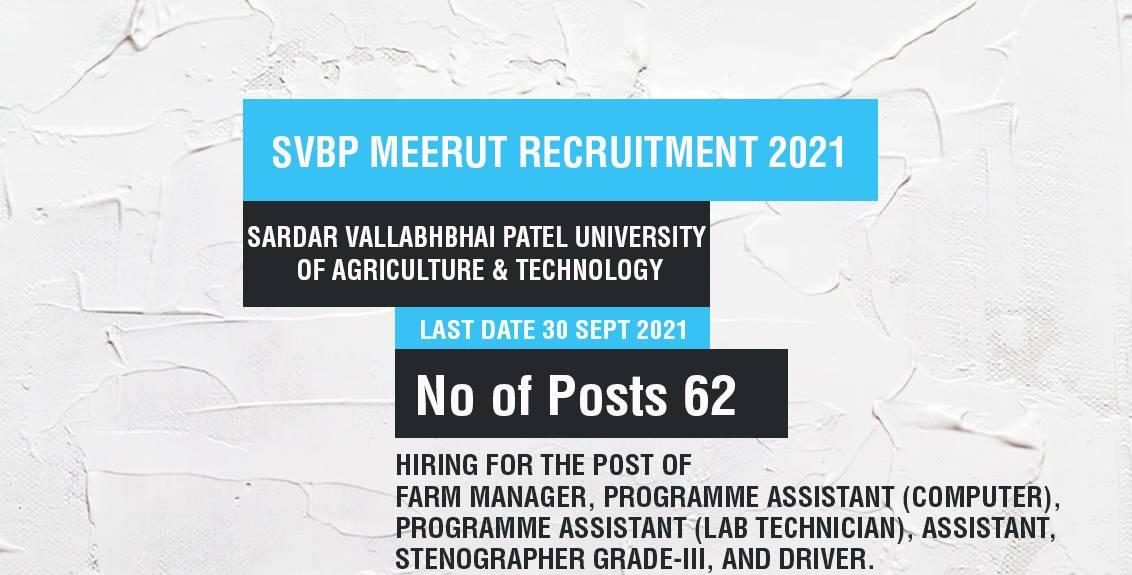 SVBP Meerut Recruitment 2021 Job Listing thumbnail.