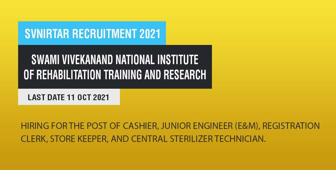 SVNIRTAR Recruitment 2021 Job Listing Thumbnail.