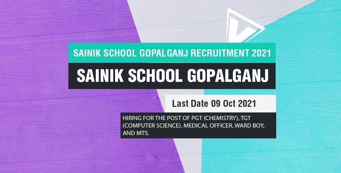 Sainik School Gopalganj Recruitment 2021 Job Listing Thumbnail.