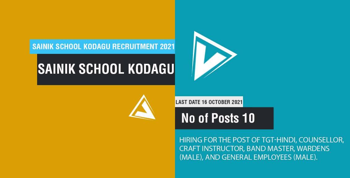 Sainik School Kodagu Recruitment 2021 Job Listing thumbnail.
