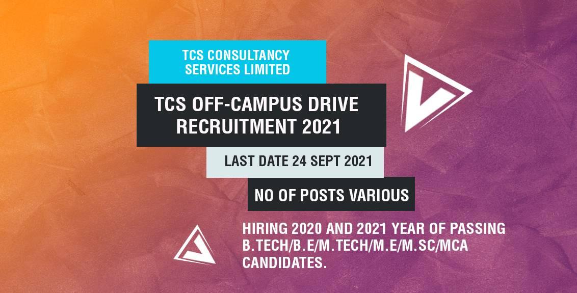 TCS Off-Campus Drive Recruitment 2021 Job Listing thumbnail.