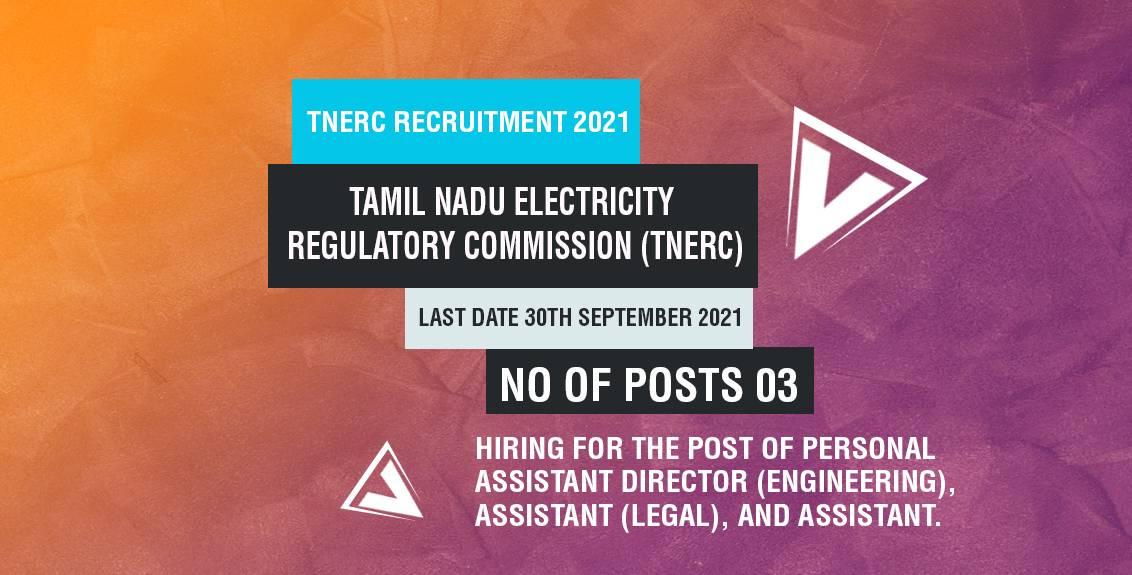 TNERC Recruitment 2021 Job Listing thumbnail.