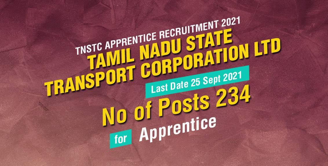 TNSTC Apprentice Recruitment 2021 Job Listing thumbnail.