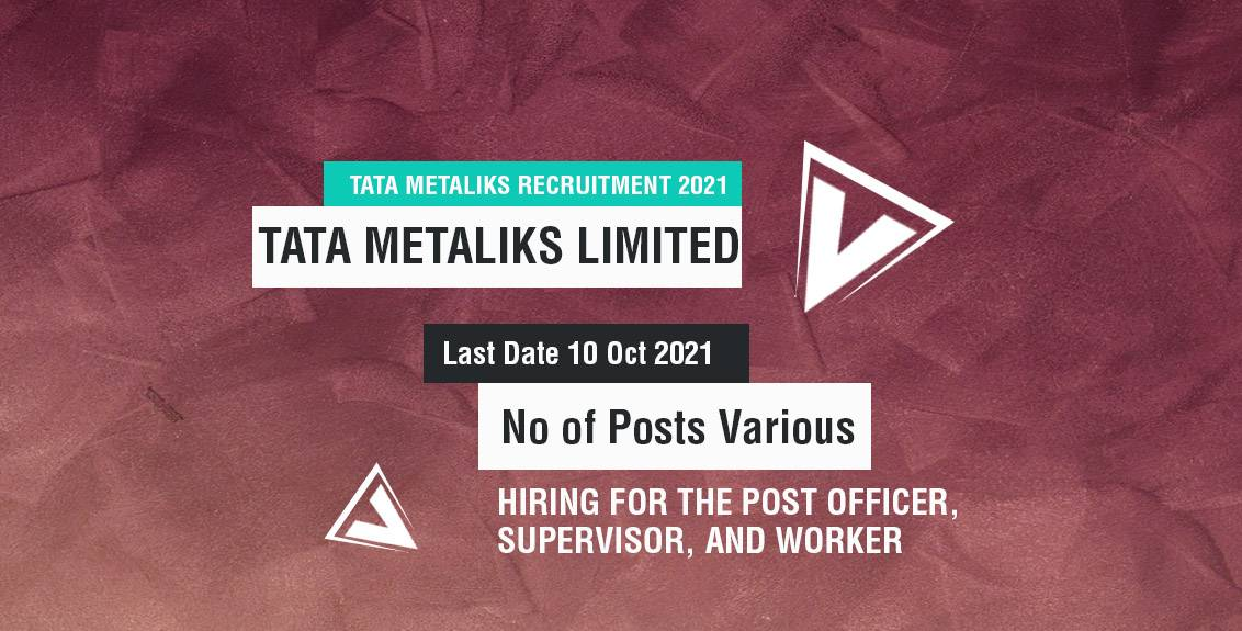 Tata Metaliks Recruitment 2021 Job Listing Thumbnail.