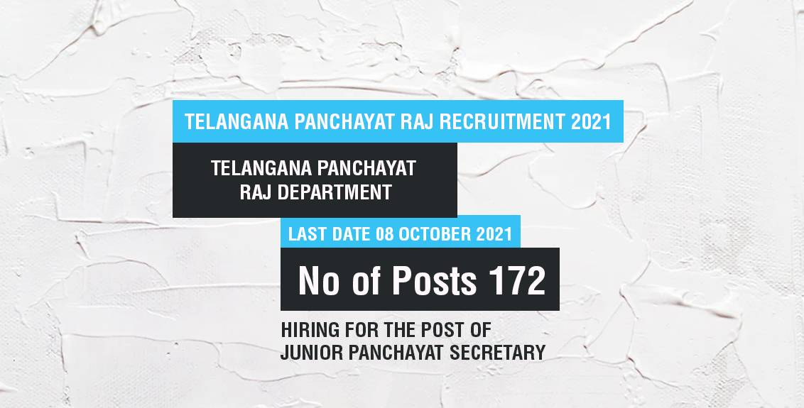 Telangana Panchayat Raj Recruitment 2021 Job Listing thumbnail.