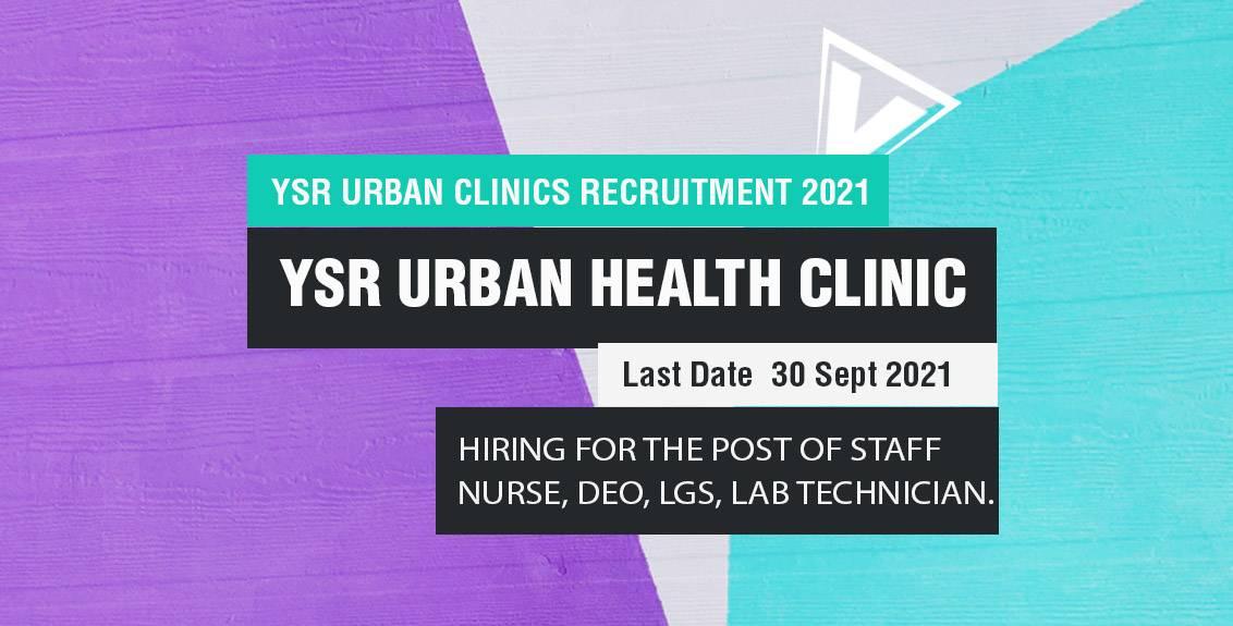 YSR Urban Clinics Recruitment 2021 Job Listing thumbnail.