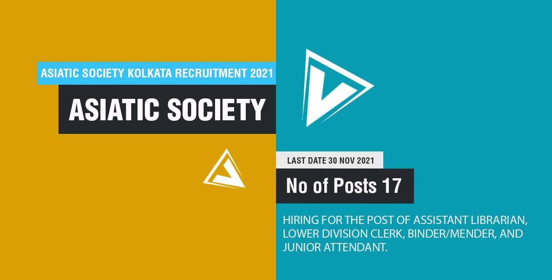 Asiatic Society Kolkata Recruitment 2021 Job Listing thumbnail.