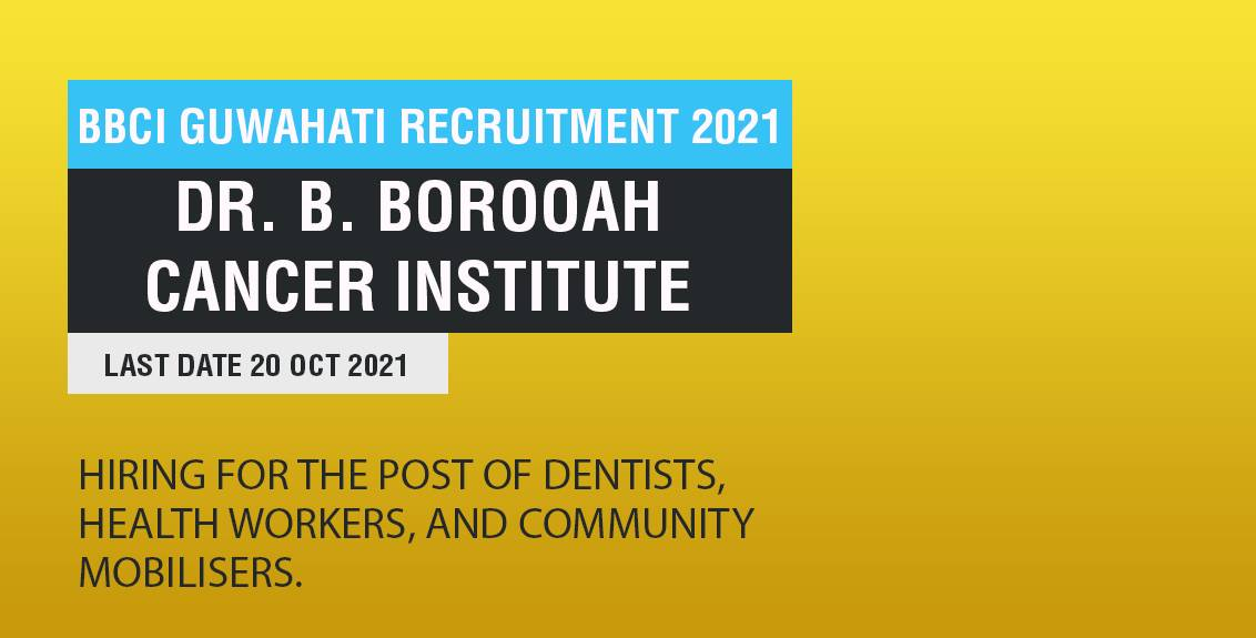 BBCI Guwahati Recruitment 2021 Job Listing thumbnail.