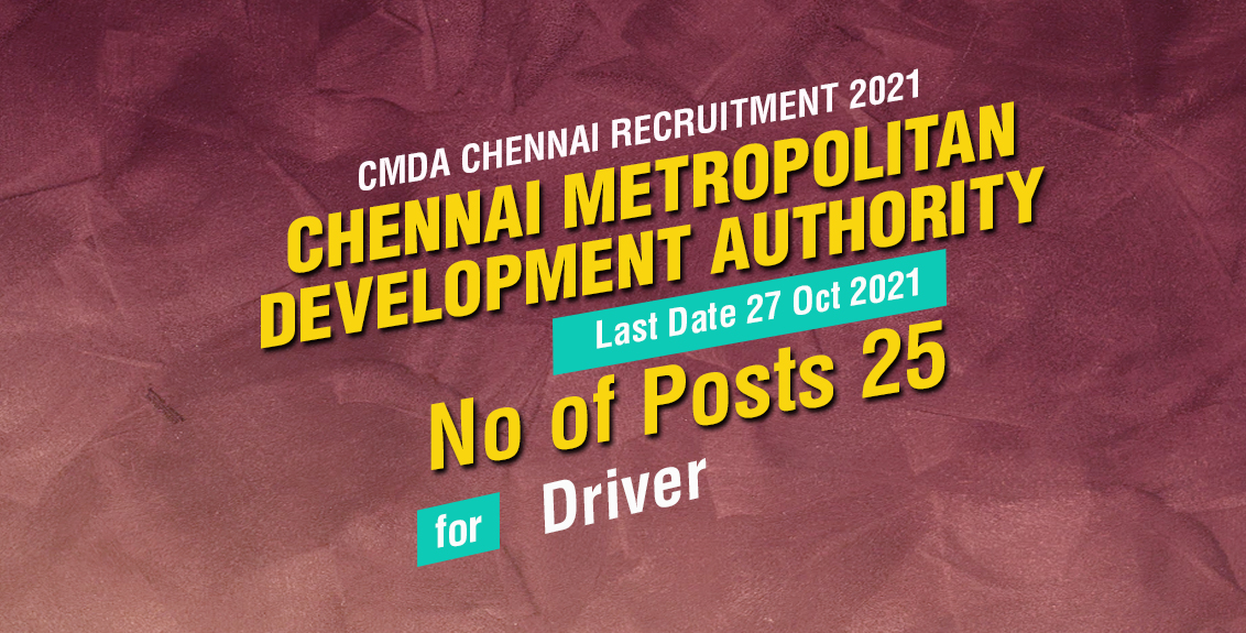 CMDA Chennai Recruitment 2021 Job Listing thumbnail.