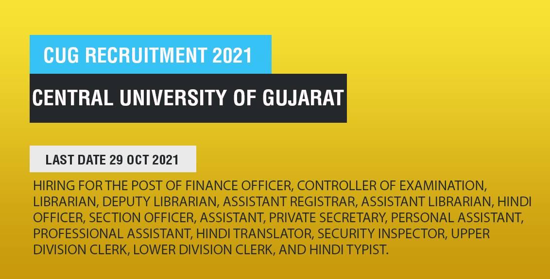 CUG Recruitment 2021 Job Listing thumbnail.