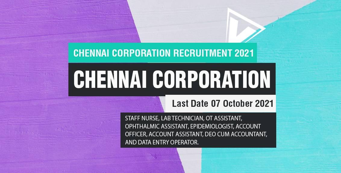 Chennai Corporation Recruitment 2021 Job Listing thumbnail.