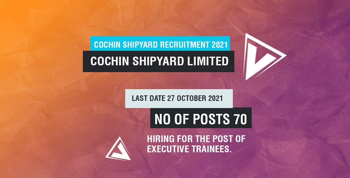 Cochin Shipyard Recruitment 2021 Job Listing Thumbnail.