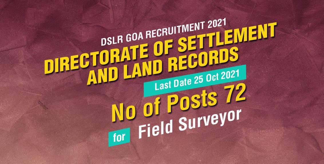 DSLR Goa Recruitment 2021 Job Listing thumbnail.