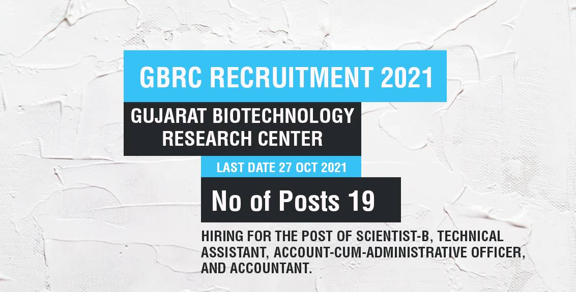 GBRC Recruitment 2021 Job Listing thumbnail.