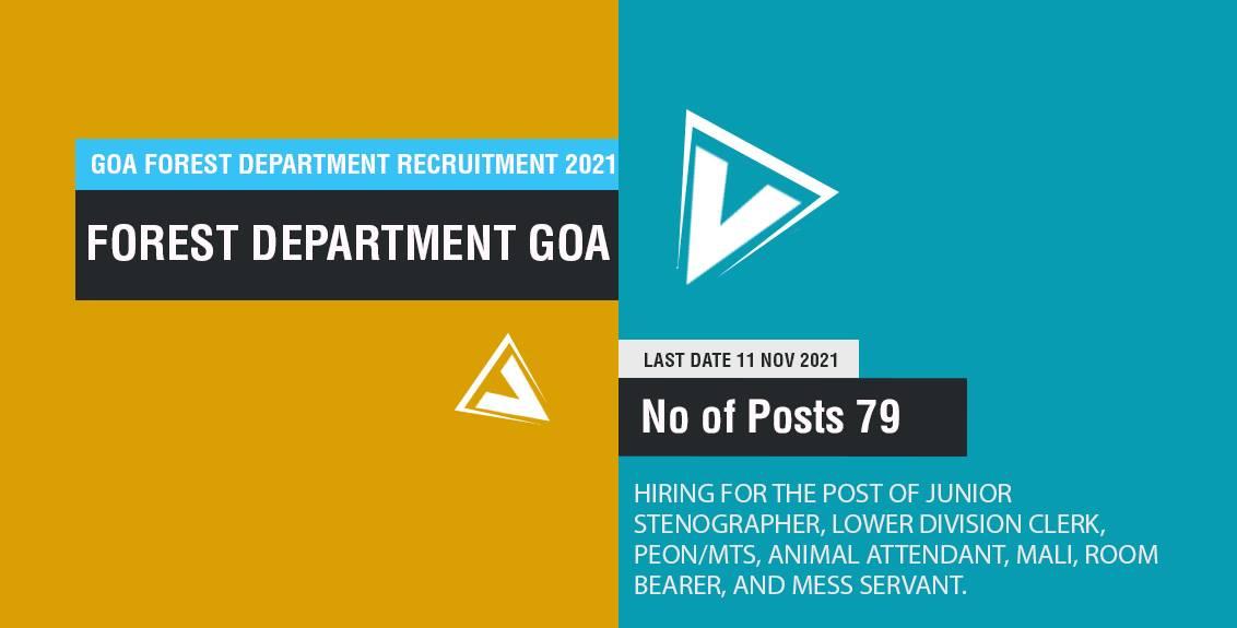 Goa Forest Department Recruitment 2021 Job Listing thumbnail.