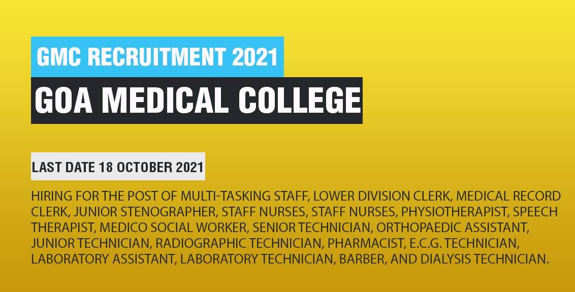 Goa Medical College Recruitment Job Listing thumbnail.