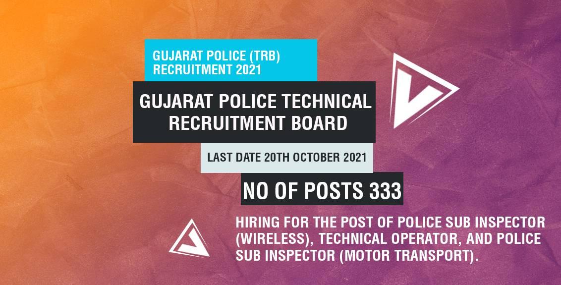Gujarat Police (TRB) Recruitment 2021 Job Listing thumbnail.