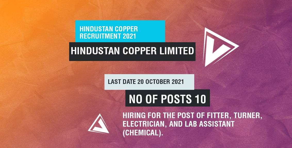 Hindustan Copper Recruitment 2021 Job Listing Thumbnail.