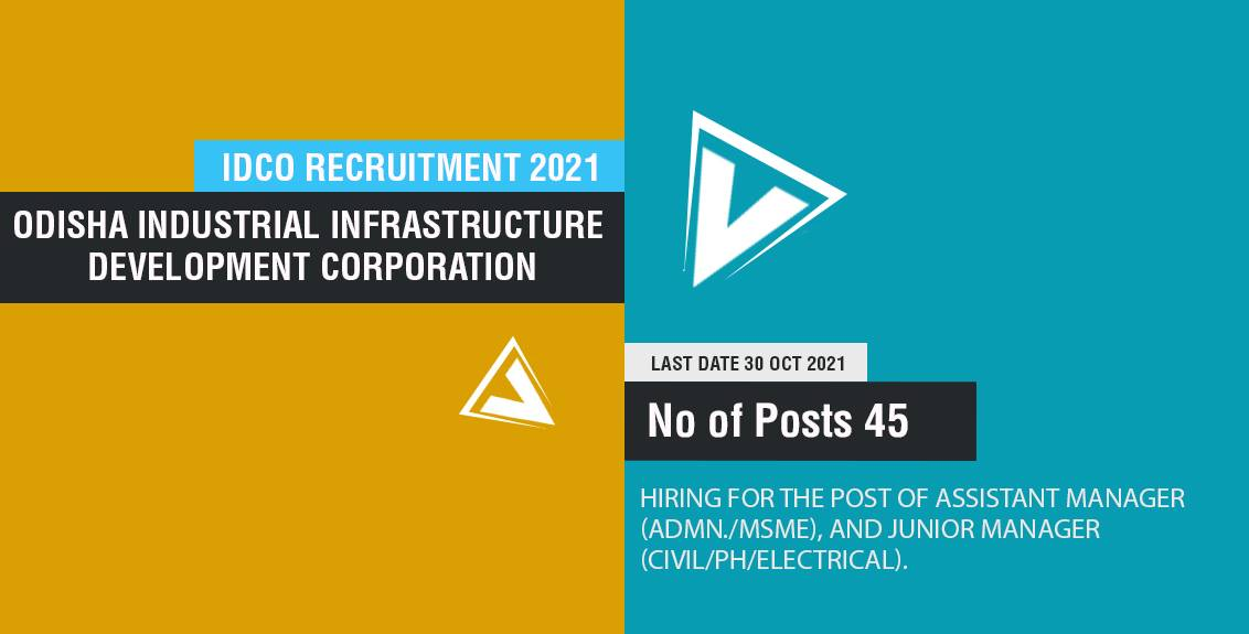 IDCO Recruitment 2021 Job Listing thumbnail.