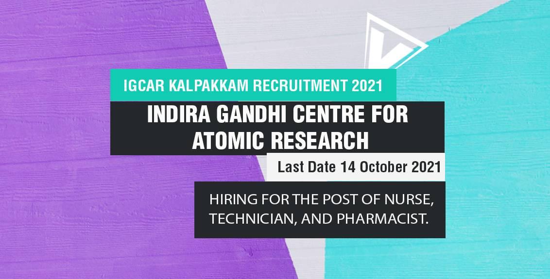IGCAR Kalpakkam Recruitment 2021 Job Listing Thumbnail.