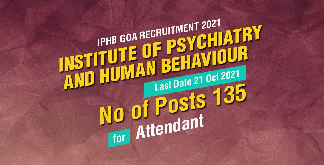 IPHB Goa Recruitment 2021 Job Listing thumbnail.