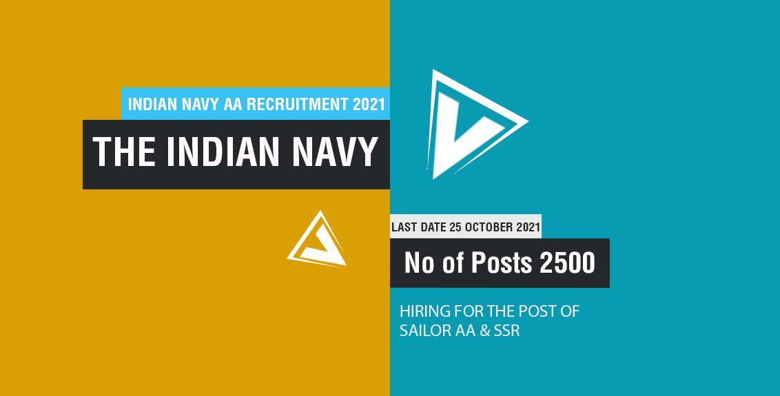 Indian Navy AA Recruitment 2021 Job Listing thumbnail.