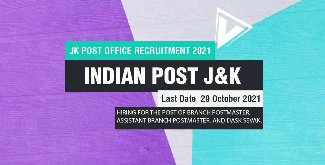 JK Post Office Recruitment 2021 Job Listing thumbnail.