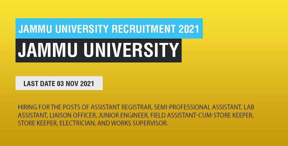 Jammu University Recruitment 2021 Job Listing thumbnail.