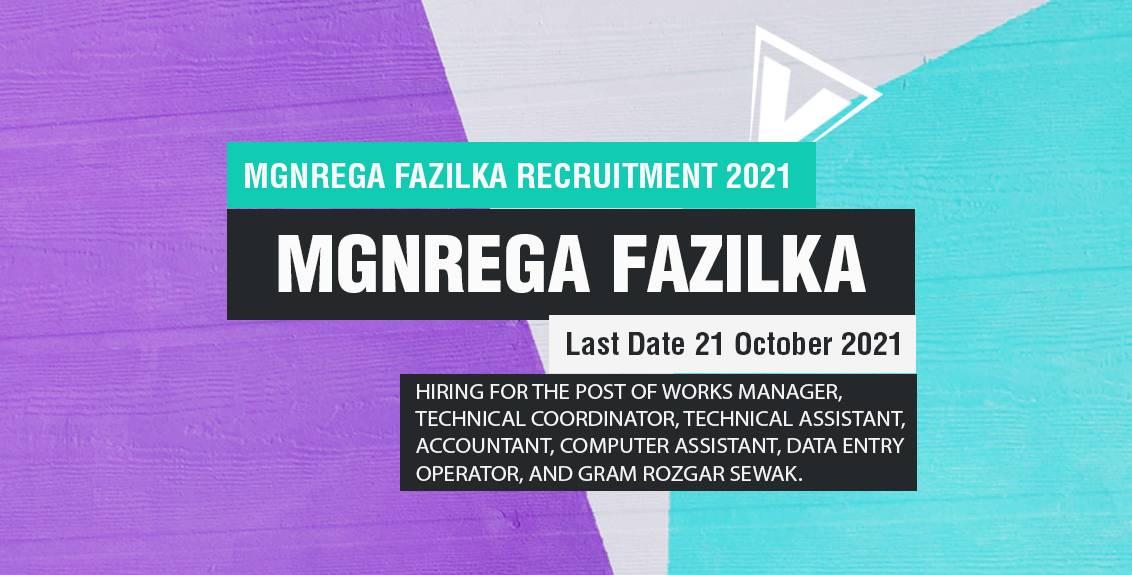 MGNREGA Fazilka Recruitment 2021 Job Listing Thumbnail.