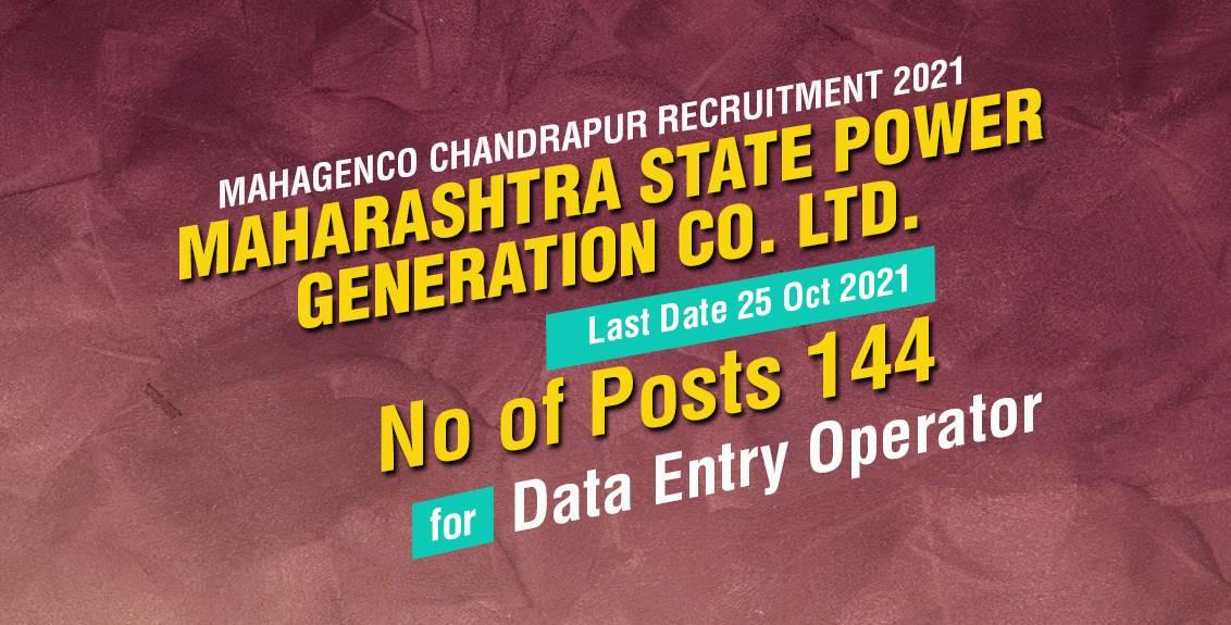 Mahagenco Chandrapur Recruitment 2021 Job Listing Thumbnail.