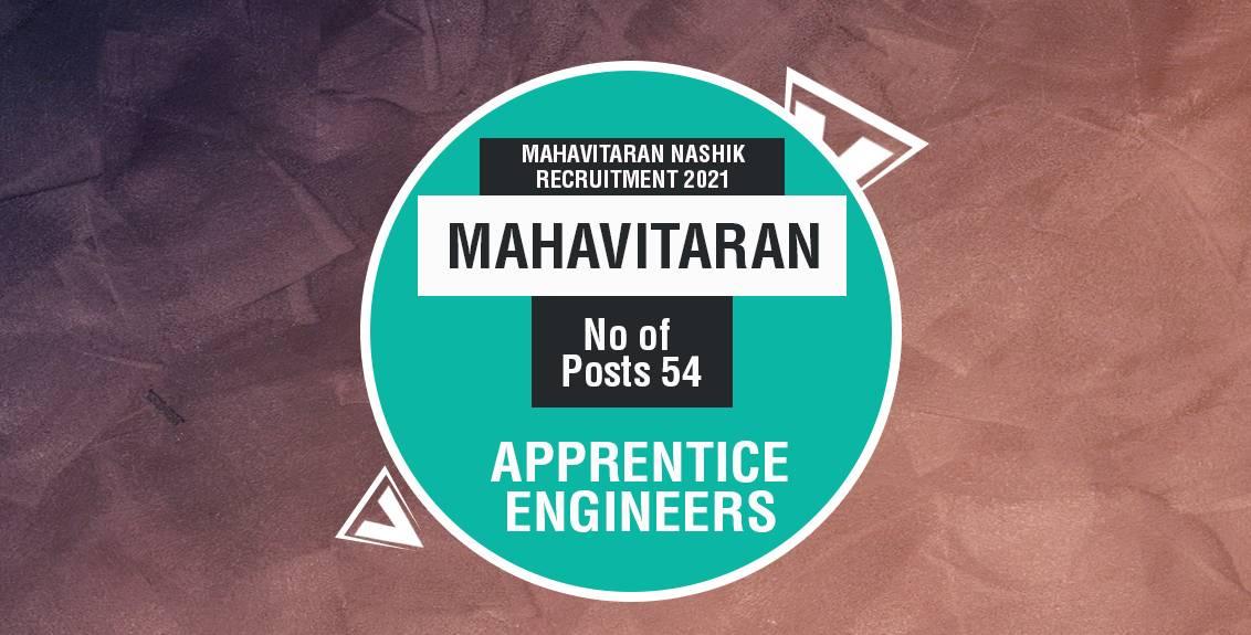 Mahavitaran Nashik Recruitment 2021 Job Listing thumbnail.