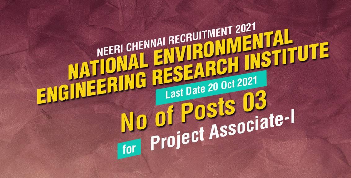 NEERI Recruitment 2021 Job Listing thumbnail.