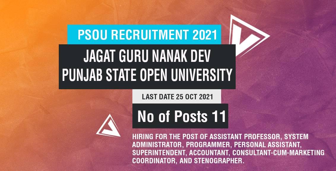 PSOU Recruitment 2021 Job Listing thumbnail.
