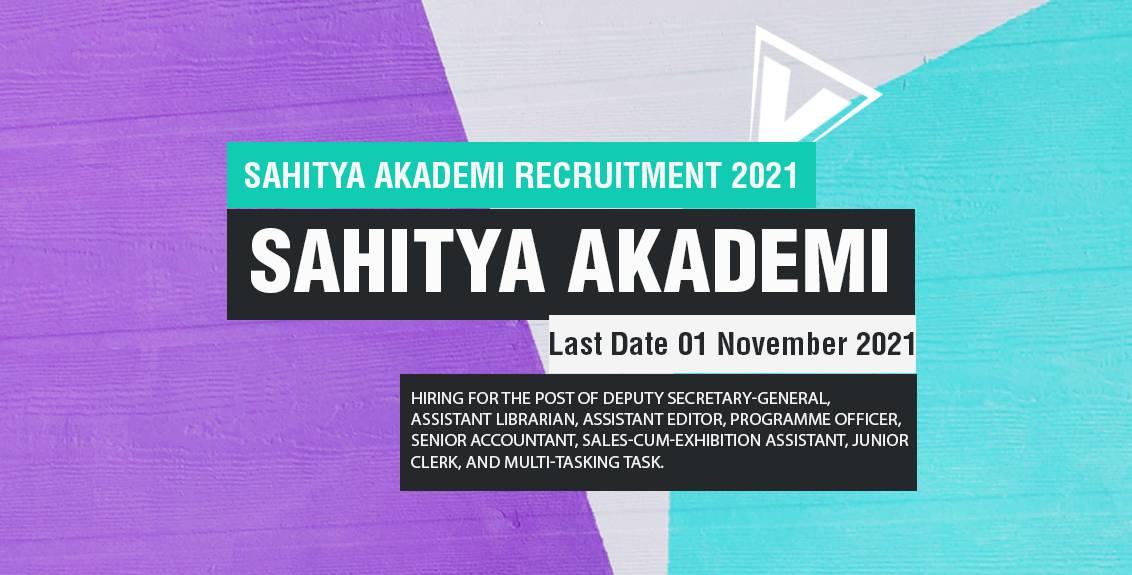 Sahitya Akademi Recruitment 2021 Job Listing thumbnail.