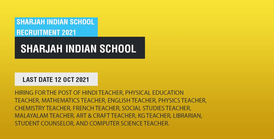Sharjah Indian School Recruitment 2021 Job Listing thumbnail.