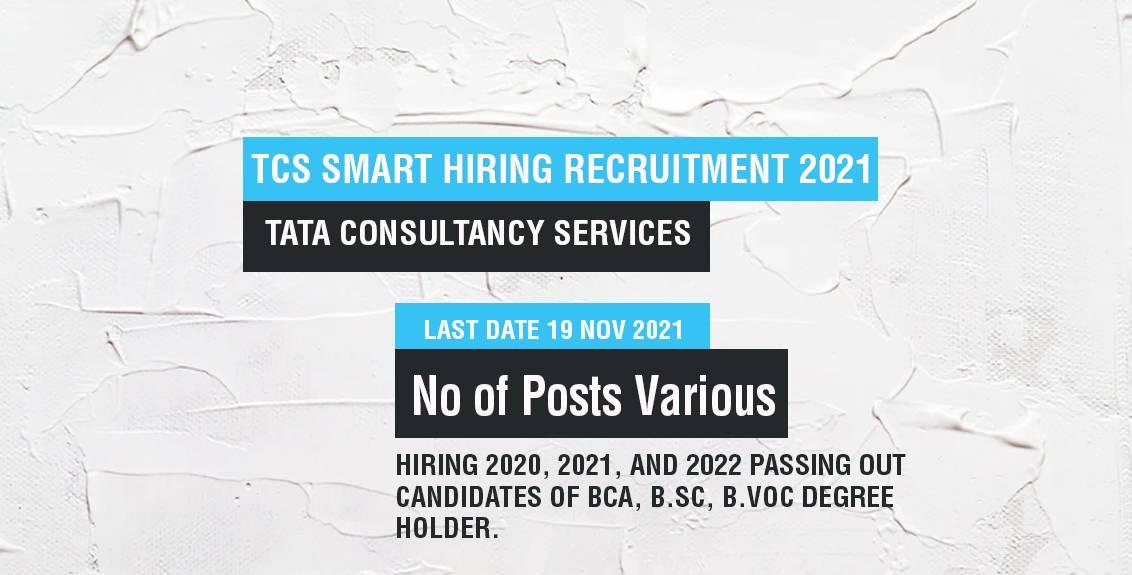 TCS Smart Hiring Recruitment 2021 Job Listing thumbnail.