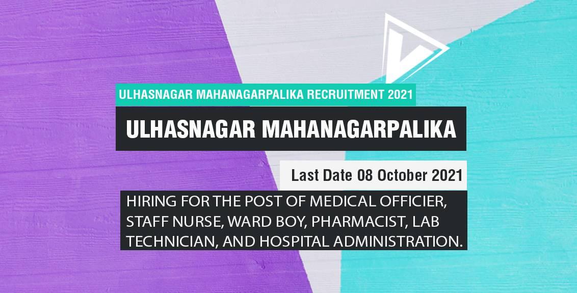 Ulhasnagar Mahanagarpalika Recruitment 2021 Job Listing Thumbnail.
